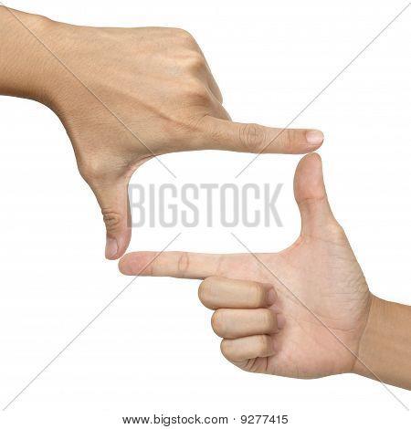 two hands make frame shape