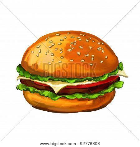 hamburger walnuts vector illustration  painted watercolor