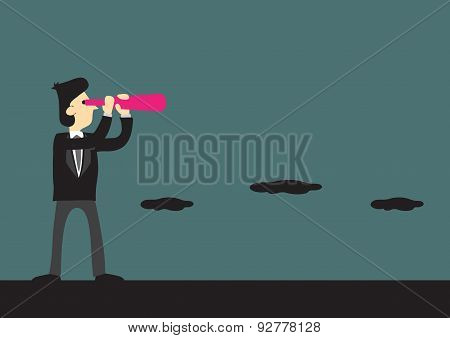 Businessman Looking Far With Telescope