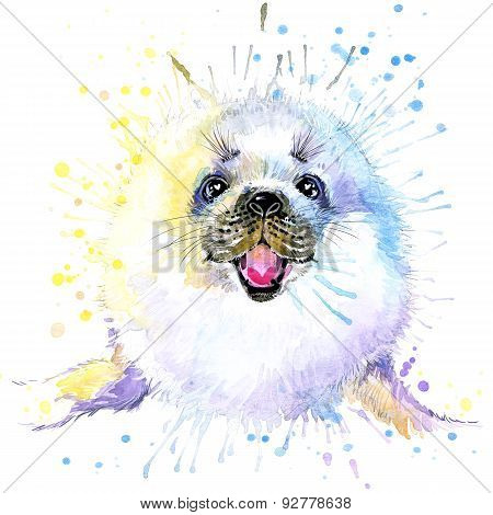 T-shirt graphics/cute white seal, illustration watercolor