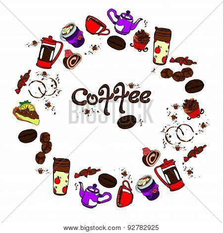 Coffee. Vector illustration with objects coffee theme