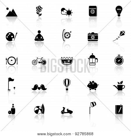 Slow Life Activity Icons With Reflect On White Background