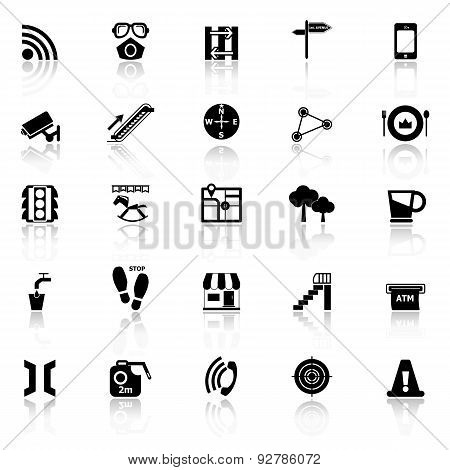 Pathway Related Icons With Reflect On White Background