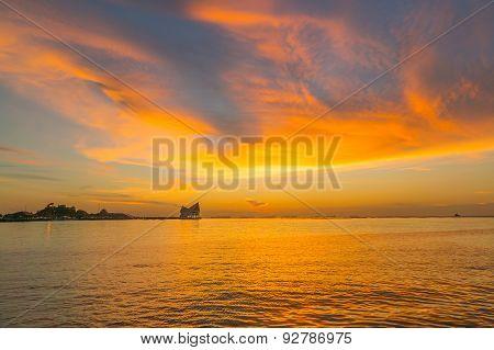 during sunset at Koh Loi Sriracha,Chonburi,Thailand
