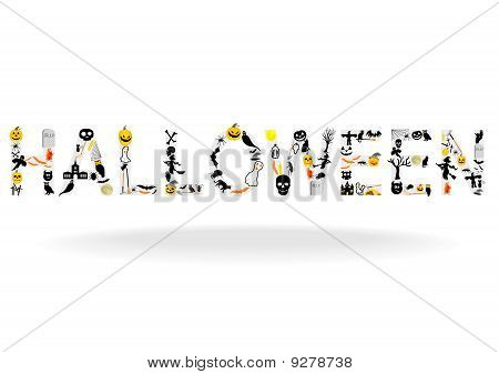 Abstract illustration of the word Halloween