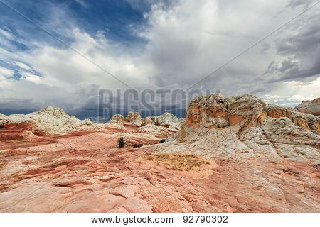 Striped sandstone rock formation at the White Pocket