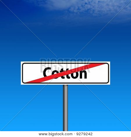 Road Sign The End Of Cotton And Blue Sky On Background