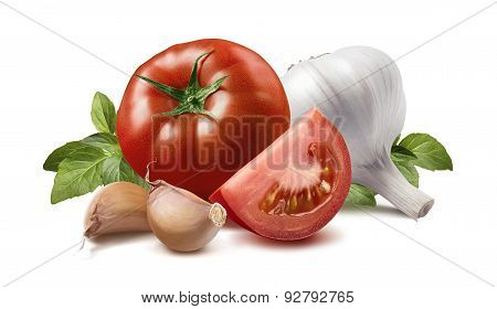 Tomato, Basil Leaves, Garlic Bulb And Cloves Isolated