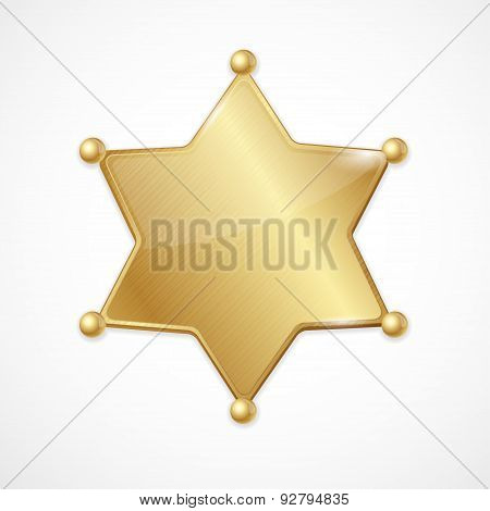 Vector golden sheriff badge star blank