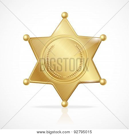 Vector illustration golden sheriff badge star empty poster
