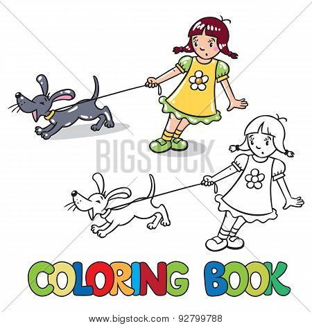 Girl with barking dog. Coloring book