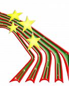 mouse-drawn graphic/illustration of christmas ribbons with stars on white background. poster