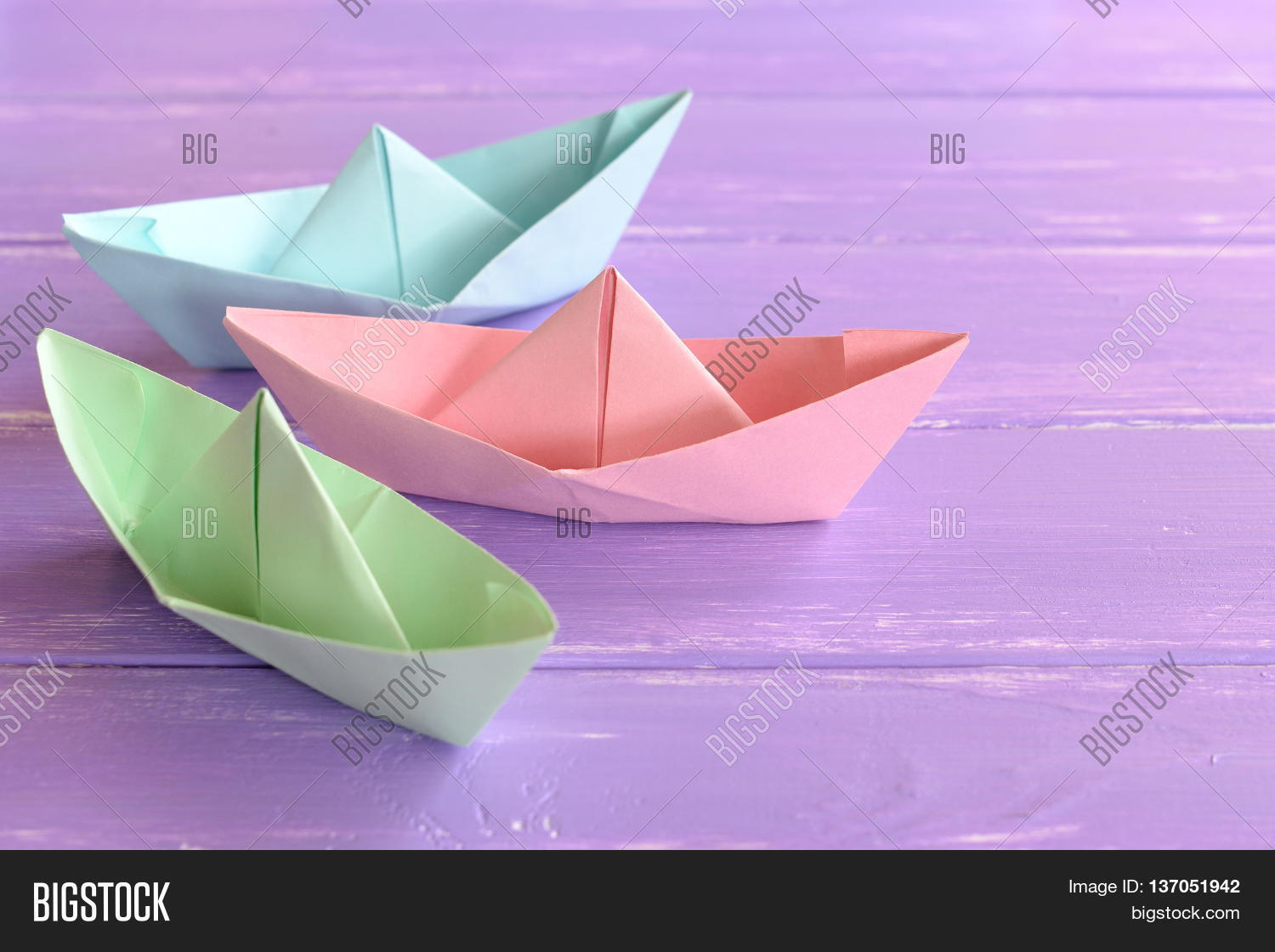 Pink Green Blue Paper Boats On Image Photo Bigstock