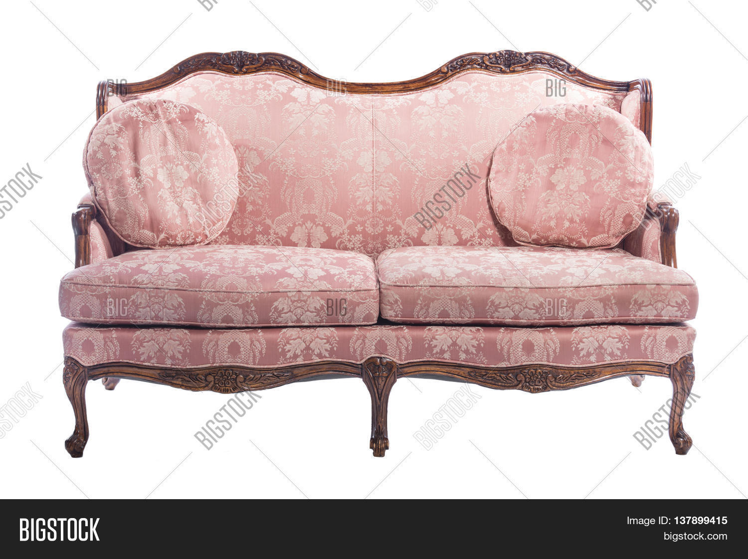 Genial Pink Wooden Royal Ornament Luxury Vintage Sofa With Two Seats And Pillows  Isolated On White Background