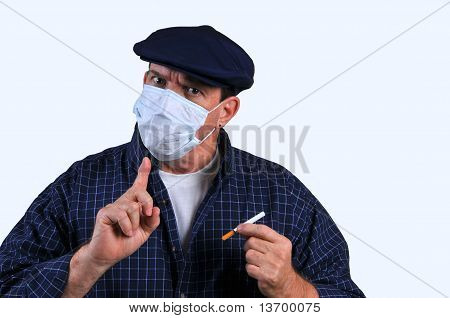 Man with breathing mask