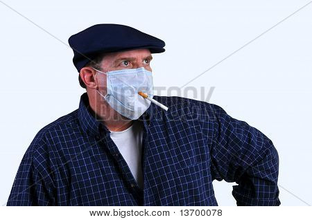 Smoking with a mask on