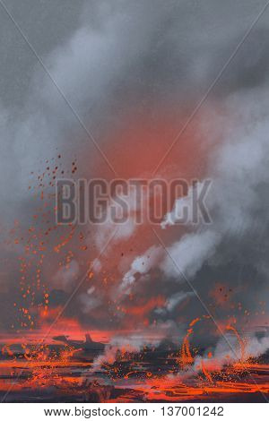 volcano eruption, lava lake, landscape illustration painting, background