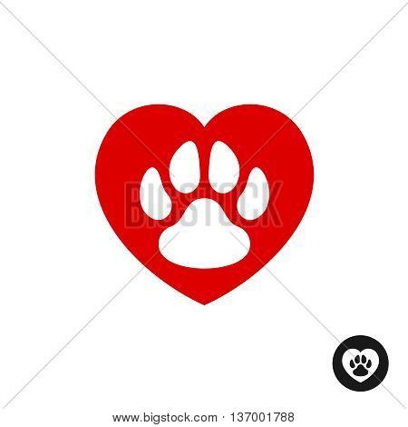 Pet paw love logo. Animal footprint with heart silhouette around.
