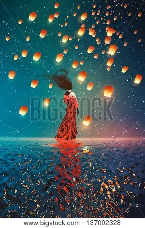 woman in dress standing on water against lanterns floating in a night sky, illustration painting