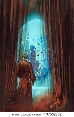 man in red gown looking at underwater world through window, illustration painting