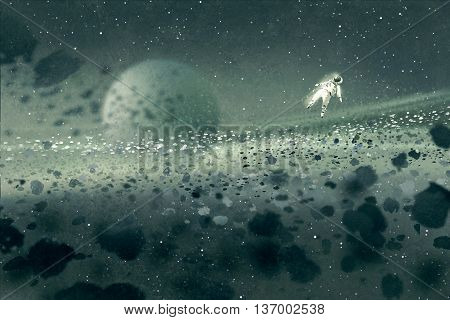 astronaut floating in asteroid field, mysterious space, illustration painting