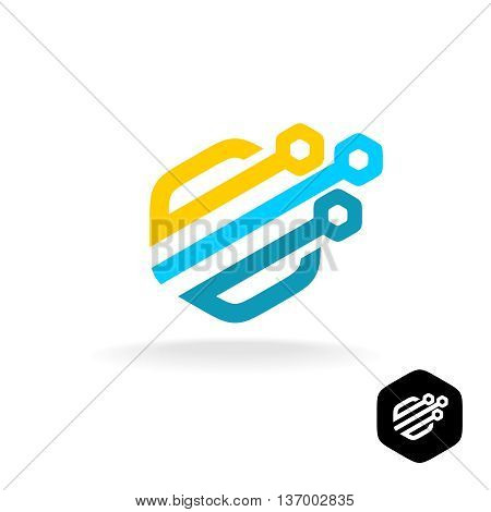 Tech logo. Colorful technical symbol. Hex rounded style.