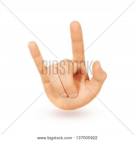 Rock-n-roll heavy metal sign hand isolated. Music love symbol icon.