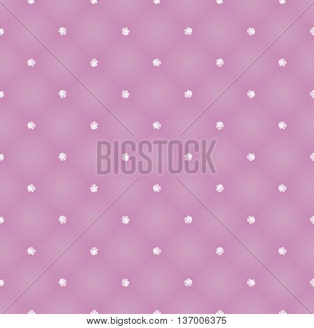 Glamour seamless pattern of pink realistic upholstery leather texture. Luxury royal background with elements swarowski crystal jewellery, stones and strass tufted. Abstract vector illustration Eps10.