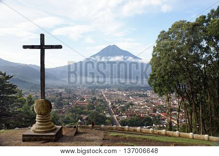 View Antigua Guatemala and the volcano from the observation point. City Museum the former capital of colonial Guatemala
