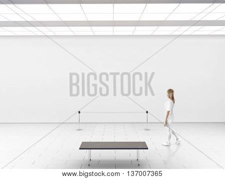Modern gallery wall mockup. Woman walk in museum hall with blank wal fence bench. White clear stand mock up show. Display artwork presentation. Art design empty floor. Expo studio wall in center.