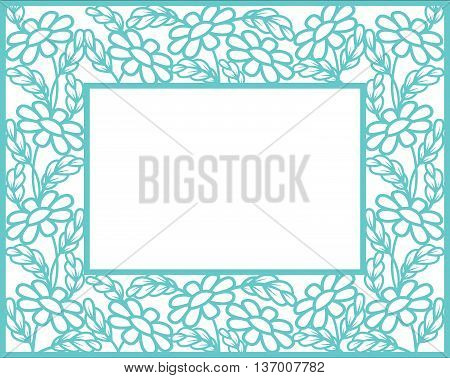 Frame in paper cut style. Daisies silhouettes.