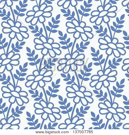 Daisies in paper cut style on the white background. Seamless vector pattern.