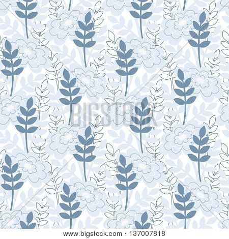 Summer floral blue vector seamless pattern for decoration.