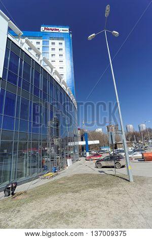 Nizhny Novgorod Russia. - April 07.2016. Hampton by Hilton hotel on the street Maxim Gorky 252