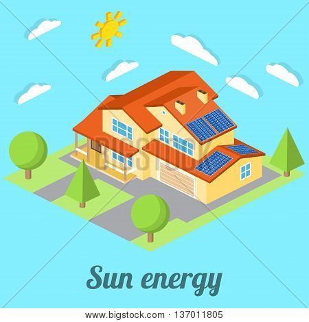 Low-energy House With Solar Panels. For Web Design, Mobile And Application Interface, Also Useful Fo