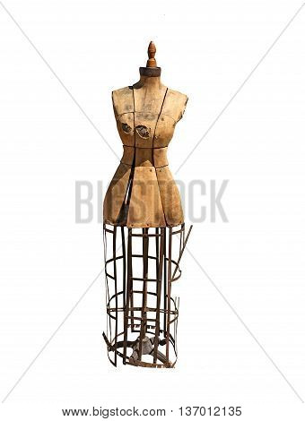 Seamstress Model- Antique dress form on a white background