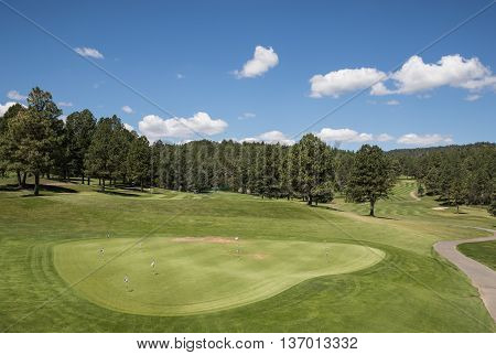 Putting Green and Fairway at a New Mexico Golf Course