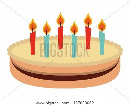 cake with candles  isolated icon design, vector illustration  graphic