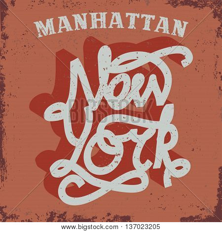 Denim typography, New York t-shirt graphics, Manhattan vintage sport wear tee print design
