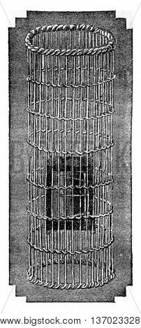Cage sun visor devoid of its envelope of silver paper to reveal the disposal of appliances in the house, vintage engraved illustration. Industrial encyclopedia E.-O. Lami - 1875.