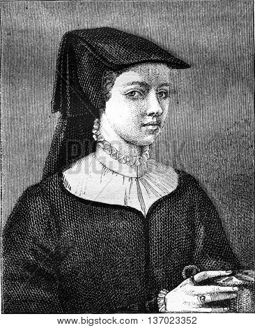 Portrait of Marie Cousin, daughter of Jean Cousin. From Magasin Pittoresque, vintage engraving, 1877.