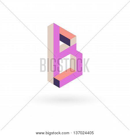 Vector illustration capital letter B isometric logo design.