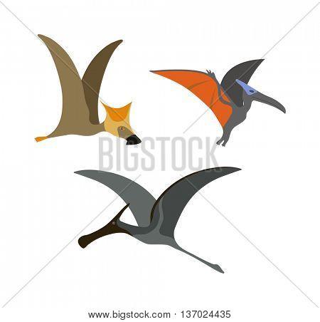 Pterodactyl dinosaur vector illustration.