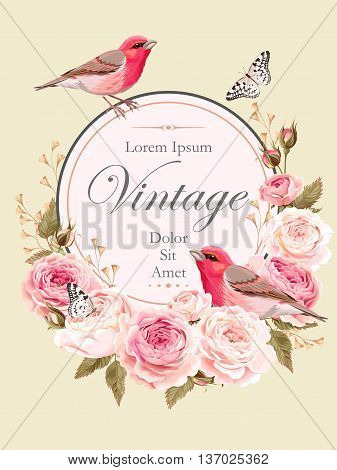 Vector vintage card with nightingales and english roses