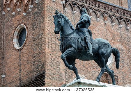 15th century statue of Bartolomeo Colleoni the famous condottiere or commander of mercenaries in Venice Italy poster