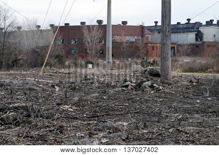 JOLIET, ILLINOIS / UNITED STATES - NOVEMBER 30, 2014: The ruins of the old Joliet Steelworks, with many windows broken, in Joliet, Illinois.