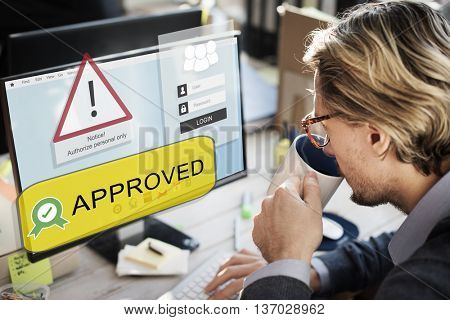 Approved Certified Business Working Browsing Concept