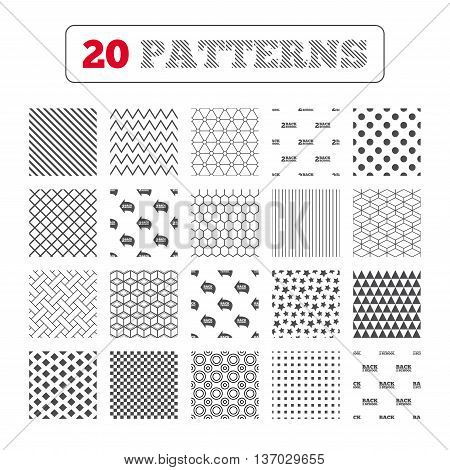 Ornament patterns, diagonal stripes and stars. Back to school icons. Studies after the holidays signs symbols. Geometric textures. Vector