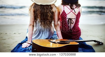 Guitar Beach Friendship Natural Recreation Fit Concept