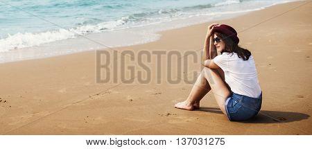 Beach Relaxation Beach Break Summer Girl Rest Concept